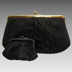 Vintage Garay Framed Double Clutch Rhinestone Evening Bag or Purse with Original Coin Purse