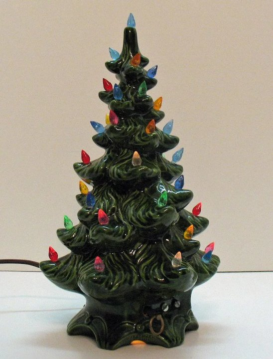 vintage ceramic christmas tree with faux plastic lights music box atlantic mold 1970s good condition