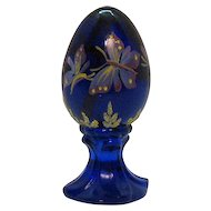 Vintage Fenton Cobalt Blue Pedestal Egg Hand Painted Butterfly Motif 1985-96 Very Good Condition