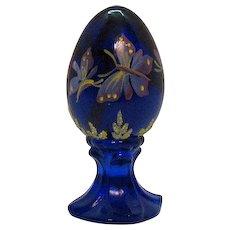 Vintage Fenton Cobalt Blue Pedestal Egg Hand Painted Butterfly Motif 1985-96 Very Good Condition