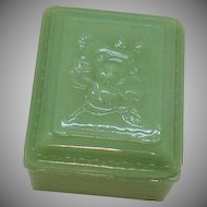 Vintage Anchor Hocking Fire King Jadeite Vanity Box 1950-60s Good Condition
