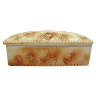 Vintage Ceramic Vanity or Trinket Box Grape and Vines Motif 1950s Good Condition