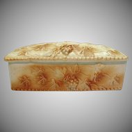 Vintage Ceramic Vanity or Trinket Box Grape and Vines Motif 1950s Good Condition