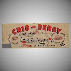 Vintage Crib-Derby Cribbage Board Original Box 1950s Good Condition
