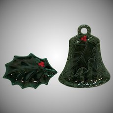 Two Vintage Lefton Green Holly Pieces 1960-83 Very Good Condition