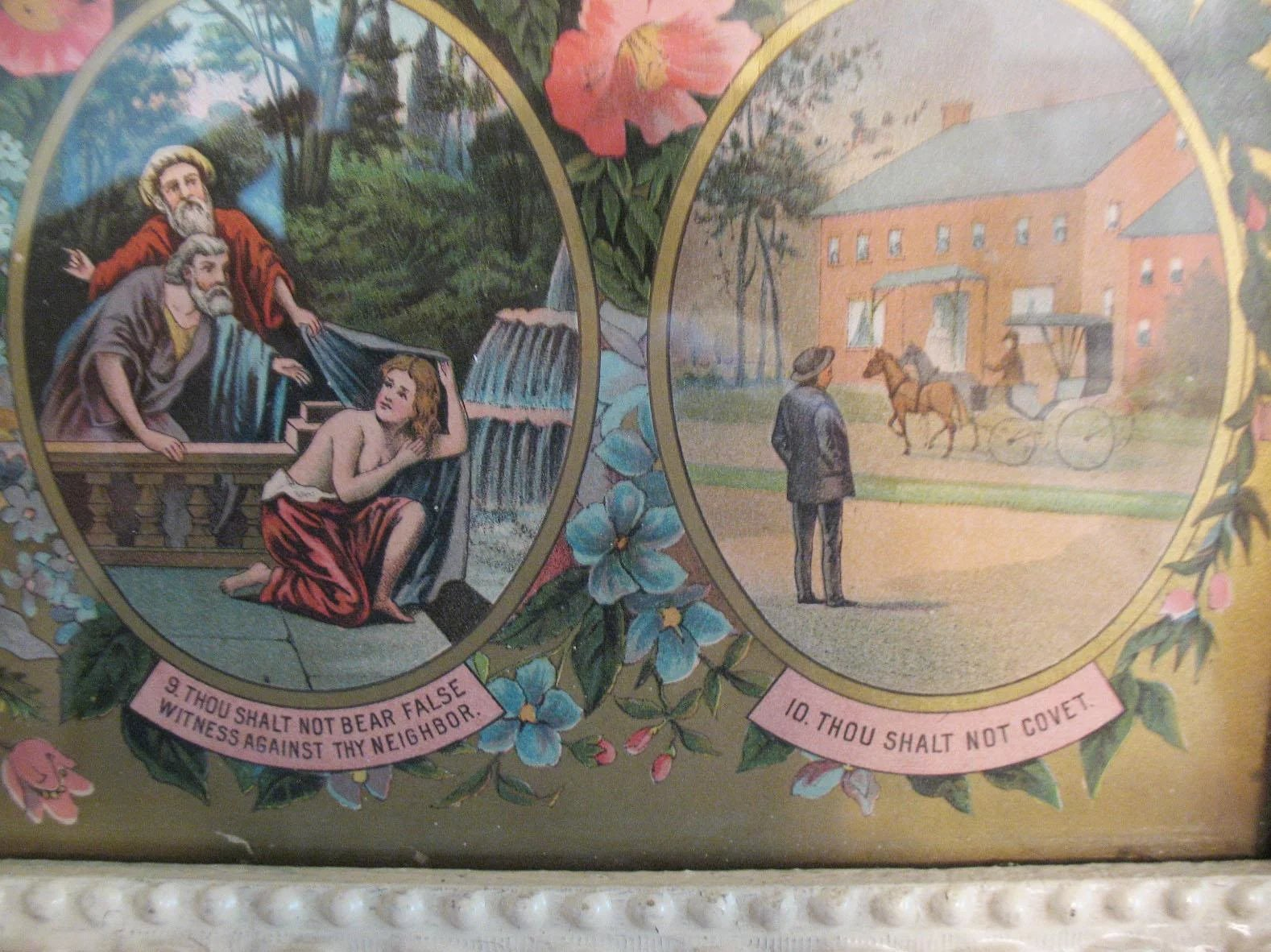 Vintage Ten Commandments Lithograph Late 1800s Early 1900s