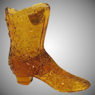 Vintage Fenton Hobnail Amber Glass Victorian Shoe with Buttons Bow Pattern 1970s Good Vintage Condition
