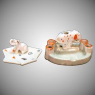 Vintage Pair Japan Ceramic Ashtrays 1950s Elephants