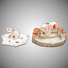 Vintage Pair Japan Ceramic Ashtrays 1950s Elephants