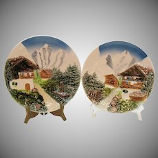 Vintage 2 Majolica West German Charger Plates 1950-60s Good Vintage Condition