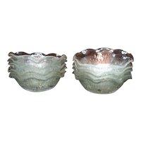 Vintage Jeannette Depression glass Iris Pattern 10 Sauce Bowls Ruffled Edge 1928-32