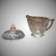 Vintage Jeannette Depression glass Iris Pattern Creamer with Sugar Bowl Lid 1928-32 Good Vintage Condition