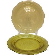 Three Vintage Amber Depression glass 11 inch Dinner Plates by Federal Glass Co. in Patrician Pattern 1933-37 Good Condition