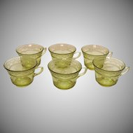 Six Vintage Cups Amber Depression glass Federal Glass Co. Patrician Pattern 1933-37 Good Condition