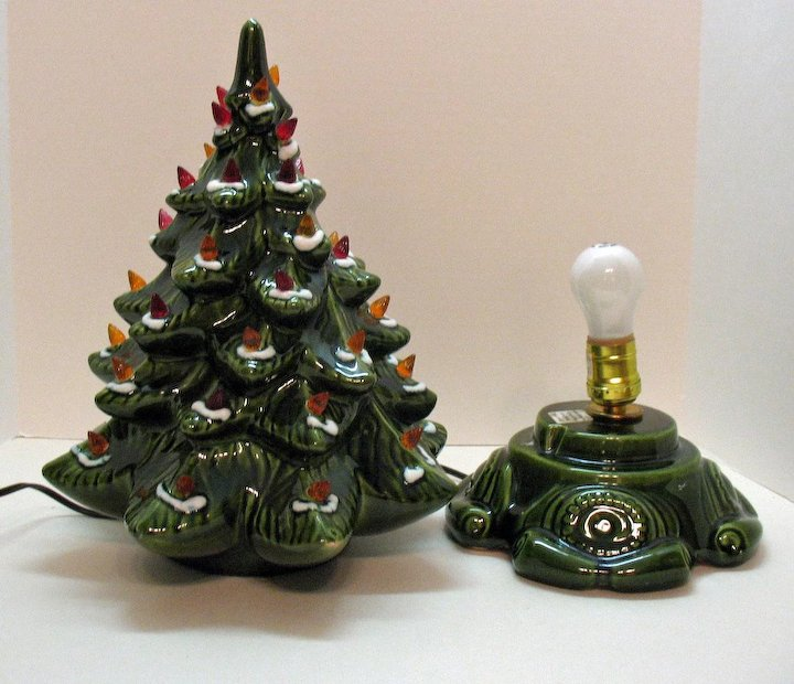 Amazing Small Vintage Ceramic Christmas Tree Light Up Base Faux Plastic Lights Very  Good Condition 1970s