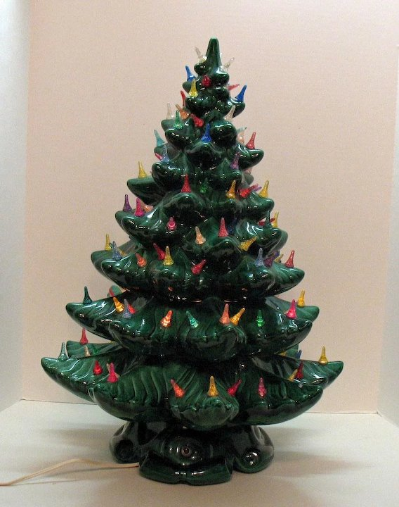 very large vintage ceramic christmas tree light up base faux plastic lights 1970s good vintage condition