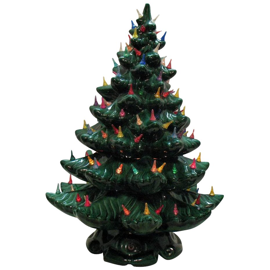 Ceramic Christmas Tree With Lights.Very Large Vintage Ceramic Christmas Tree Light Up Base Faux Plastic Lights 1970s Good Vintage Condition