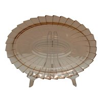 Vintage Sierra/Pin Wheel 11 Inch Pink Depression glass Platter by Jeannette 1931-33 Good Condition