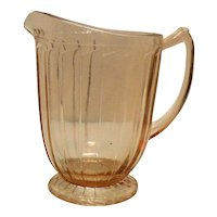 Vintage Sierra/Pin Wheel 7 Inch Pink Depression glass Pitcher by Jeannette 1931-33