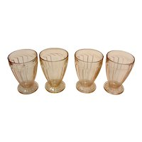 Four Vintage Pink Depression Tumblers Sierra/Pin Wheel Pattern by Jeannette 1931-33 Good Condition