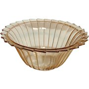 Vintage Jeannette Pink Depression glass 8 ½ inches Berry Bowl Sierra/Pin Wheel Pattern 1931-33