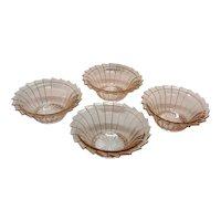 Vintage Jeannette 4 Pink Depression glass Cereal Bowls Sierra/Pin Wheel Pattern 1931-33