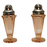 Vintage Jeannette Pink Depression glass S&P Shakers Sierra/Pin Wheel Pattern 1931-33