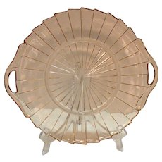 Two Handled Vintage Pink Depression glass Sandwich Tray by Jeannette in Sierra/Pin Wheel Pattern 1931-33