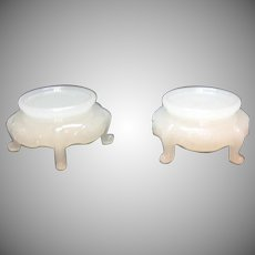 Two Vintage Glass Display Bases Opal Milk Glass Color 1920-40 Good Vintage Condition
