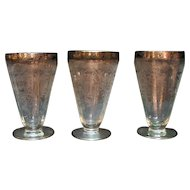 Four Vintage Paden City Ice Tea Tumblers Platinum Band Rim Diana Etching 1930s Good Condition