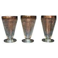 Four Vintage Paden City Ice Tea Tumblers Platinum Band Rim Diana Etching 1930s Good Condition