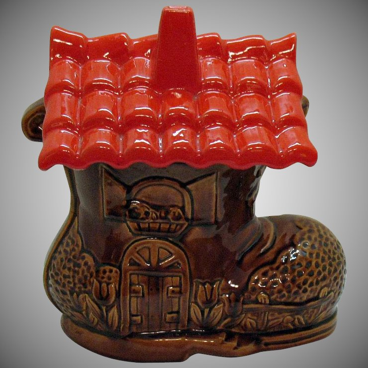 1950'S Cookie Jars Unique Vintage Old Shoe House Cookie Jar California Originals 6060s Good