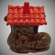 Vintage Old Shoe House Cookie Jar California Originals 1950-60s Good Vintage Condition
