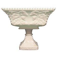Vintage Westmoreland Large Pedestal Flared Bowl Beaded Panel Grape Motif Good Vintage Condition