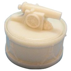 Vintage Covered Milk Glass Box by Westmoreland Specially co. 1889-1924 Cannon with Cannon Balls on lid of Snare Drum Rare