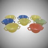Eight Vintage Hazel Atlas Cream Soup Bowls Moderntone Pattern Pastel Colors 1940-50s Very Good Condition