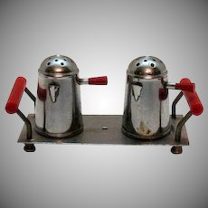 Vintage Tiny Metal Coffee Pots as Salt and Pepper Shakers Occupied Japan 1946-51