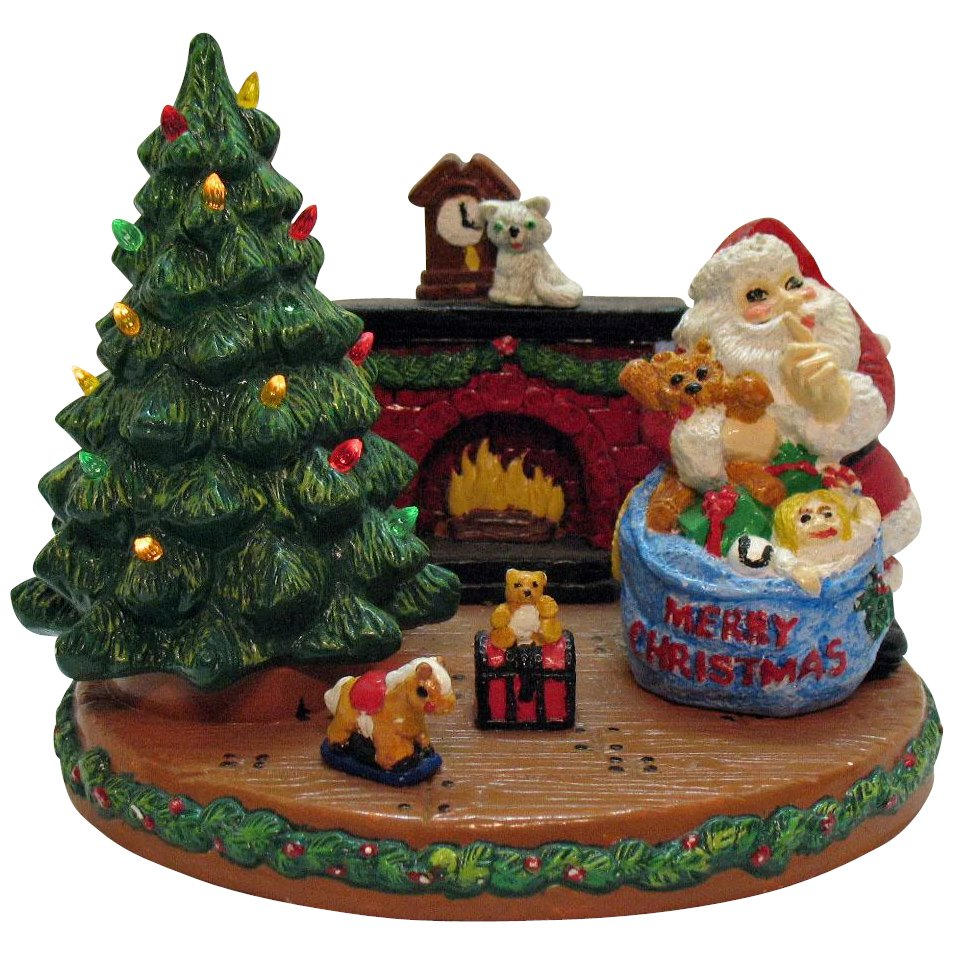 70s Christmas.Vintage Chalk Ware Christmas Scene Display With Lighted Christmas Tree 1960 70s Very Good Vintage Condition
