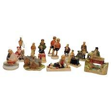Vintage 12 Miniature Sebastian Figurines by P.W. Baston 1940-80 Good Condition