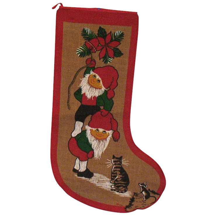 vintage large burlap christmas stocking 1960 70s good condition - Burlap Christmas Stocking