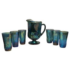 Vintage Indiana Blue Carnival Glass Pitcher and 6 Tumblers 1971 Very Good Condition