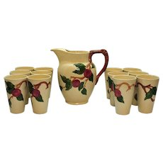 Vintage Franciscan Ware Pitcher and 12 Tumblers Apple Motif 1940-49 Very Good Condition