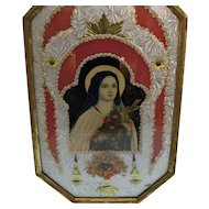 Vintage Convex Glass Hammered Aluminum Picture of Virgin Mary 1920-30s Good Vintage Condition