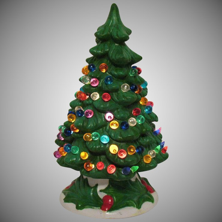 vintage holland mold 1970s ceramic christmas tree light up base faux plastic lights good condition
