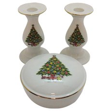Vintage Ceramic Christmas Candleholders and Covered Box 1960s Jamestown China Good Condition