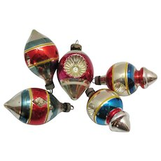 Five Vintage Premier Glass Works Christmas Ornaments WW2 Era