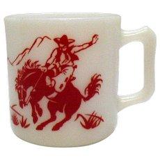 Vintage Hazel Atlas Cowboy Them Cup 1950s Good Condition