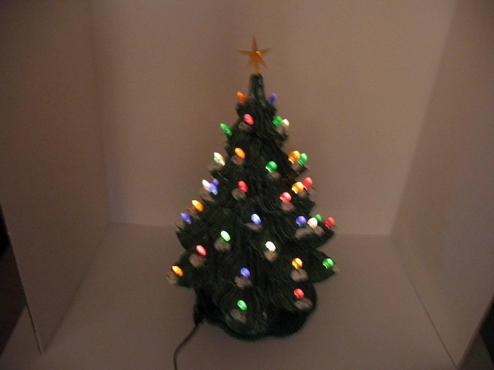 vintage ceramic christmas tree with faux plastic lights bottom
