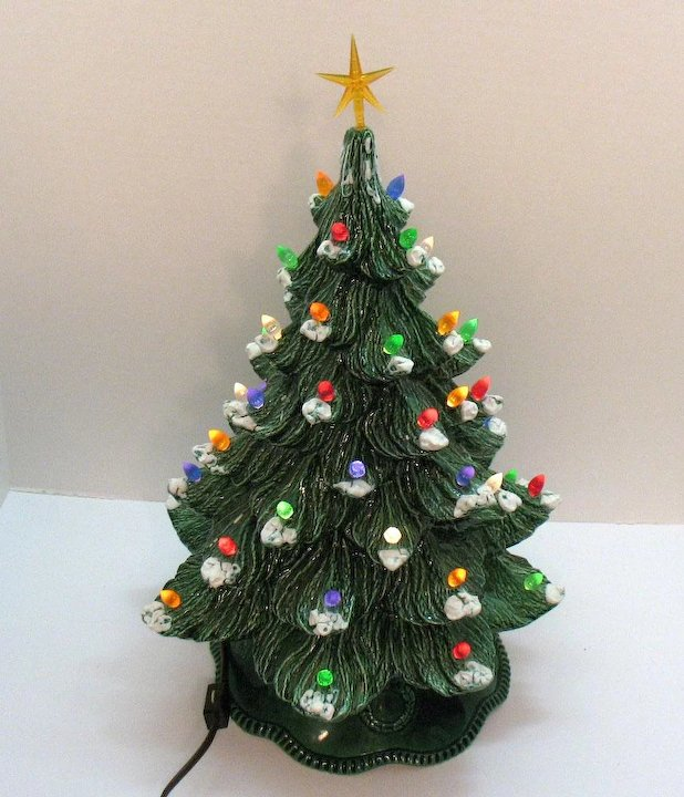 vintage ceramic christmas tree with faux plastic lights bottom lights up 1983 good condition - Vintage Ceramic Christmas Tree