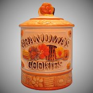 Vintage Ceramic Grandma's Cookies Cookie Jar 1960s Norcrest Good Condition